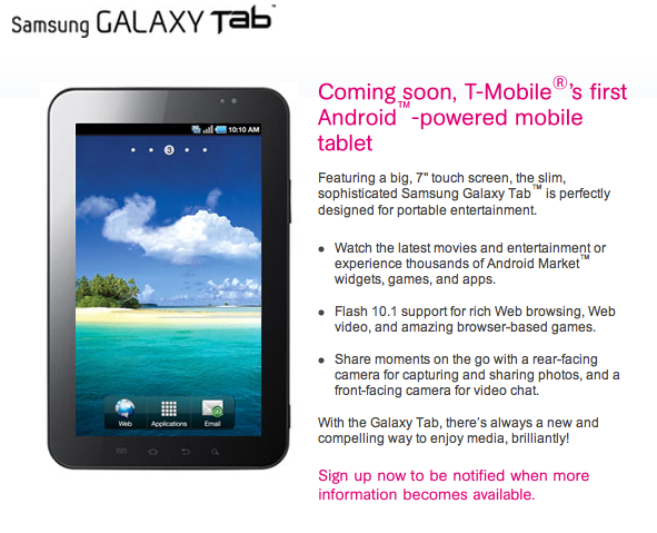 T-Mobile Galaxy Tab pre-registration page goes live ...