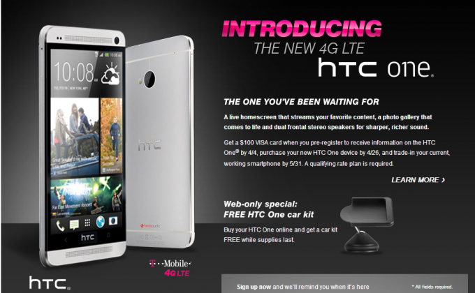T-Mobile HTC One with Free Car Kit