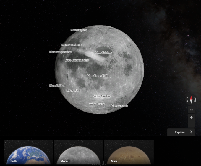 You can now explore the Moon and Mars with Google Maps ...
