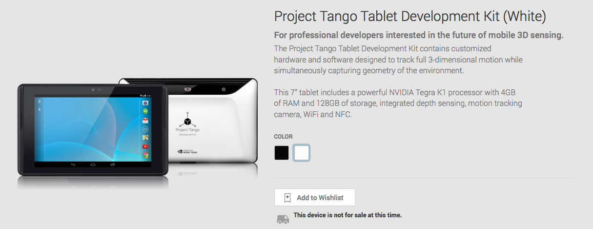 Google Play launches page for Project Tango Development ...