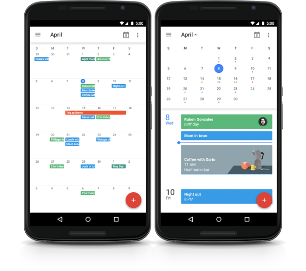 Google Calendar Update Nexus 6