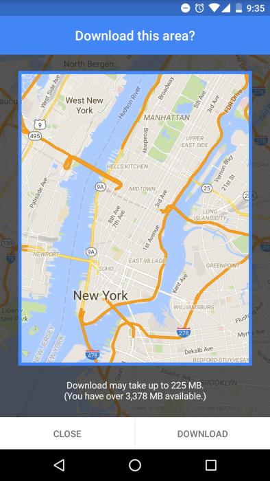 Saving offline areas in Google Maps