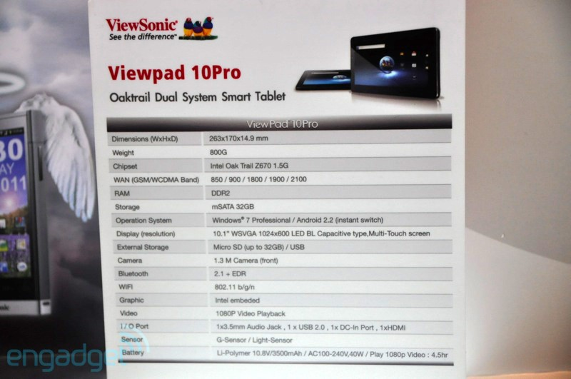 ViewSonic ViewPad 10Pro has Android and Windows 7 – not a dual boot