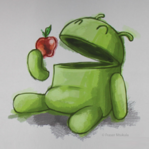 Android Eating Apple Wallpaper  Get It Now    Droid Stuff