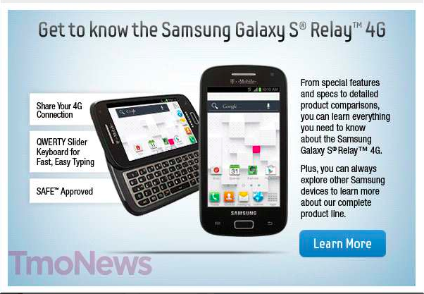 samsung galaxy s relay 4g gets official revealed in t mobile rh talkandroid com Samsung Galaxy S Relay Case Galaxy S Relay Cases and Covers