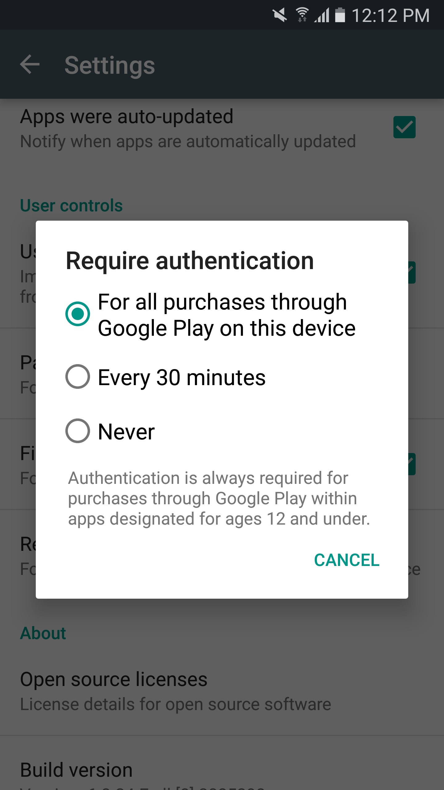 Google play purchase password