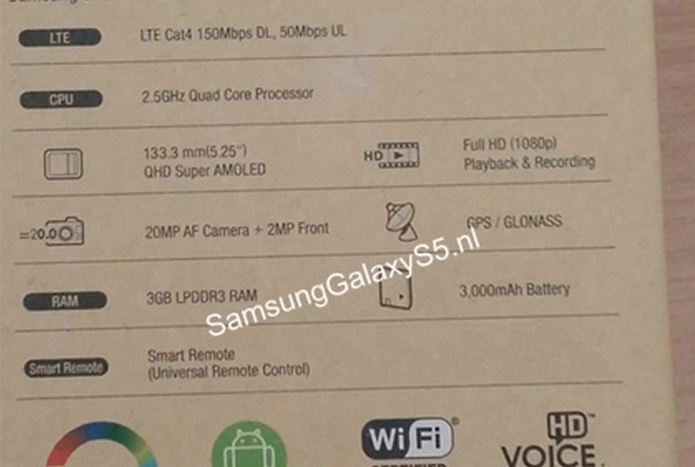 Samsung Galaxy S5 leaked box specs