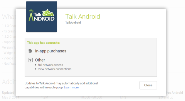 talk android app permissions