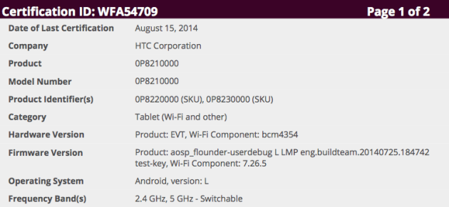 Upcoming Nexus tablet manufactured by HTC gets WiFi certification