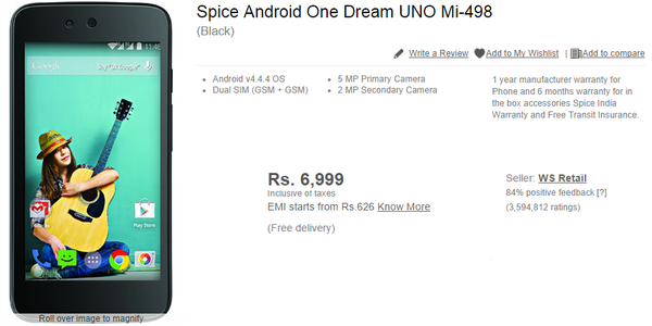 Flipkart leaks Android One device ahead of Monday unveiling