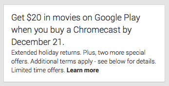 [Deal] Get a Chromecast with $20 Google Play credit