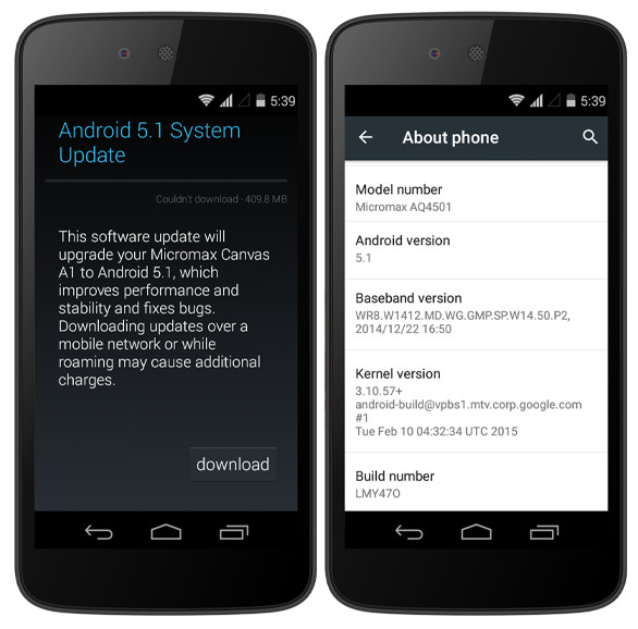 Micromax Canvas A1 Now Getting The Android 5.1 Update