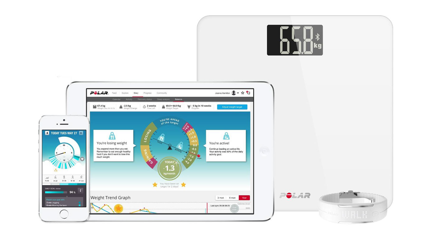 polar balance scale helps you keep track of your goal weight