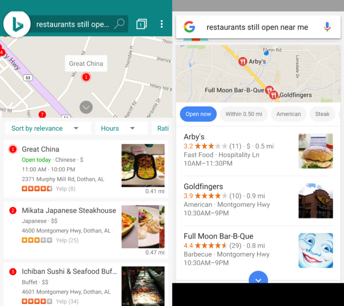 Restaurants search results