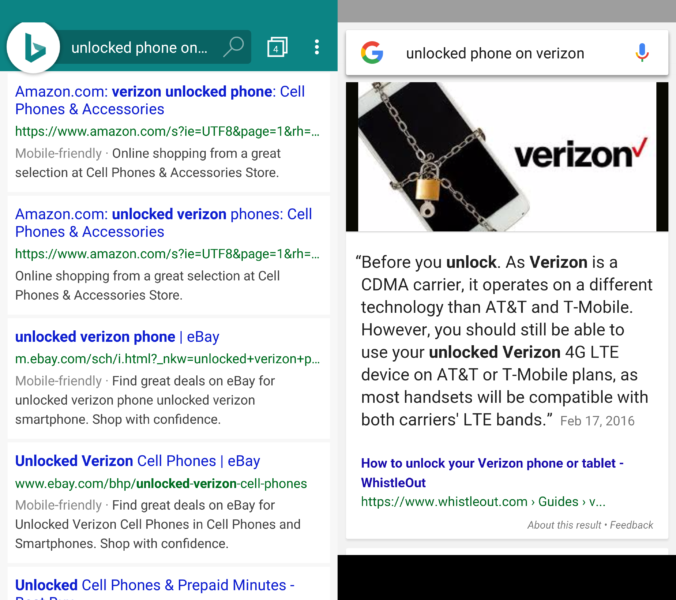 Verizon Unlocked Phone search results