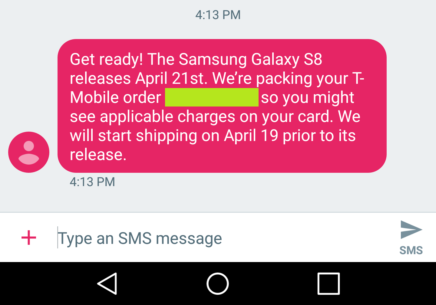 your samsung galaxy s8 from t mobile will ship on april 19