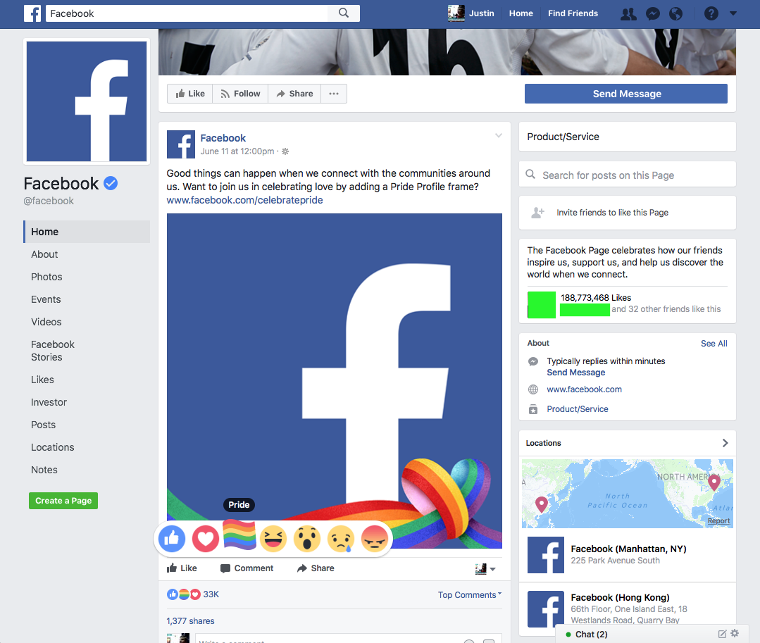 How to get the lgbtq pride reaction on facebook not enough pride for you facebook created its own frame for profile pictures too so you can show your support around the clock on your profile picture jeuxipadfo Gallery