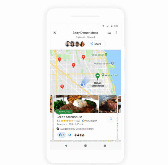 Google Maps just made it easy to poll friends on dinner options