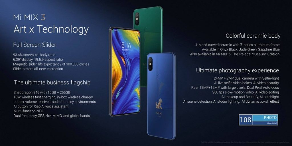 Xiaomi avoids the notch by using a slider in new Mi Mix 3