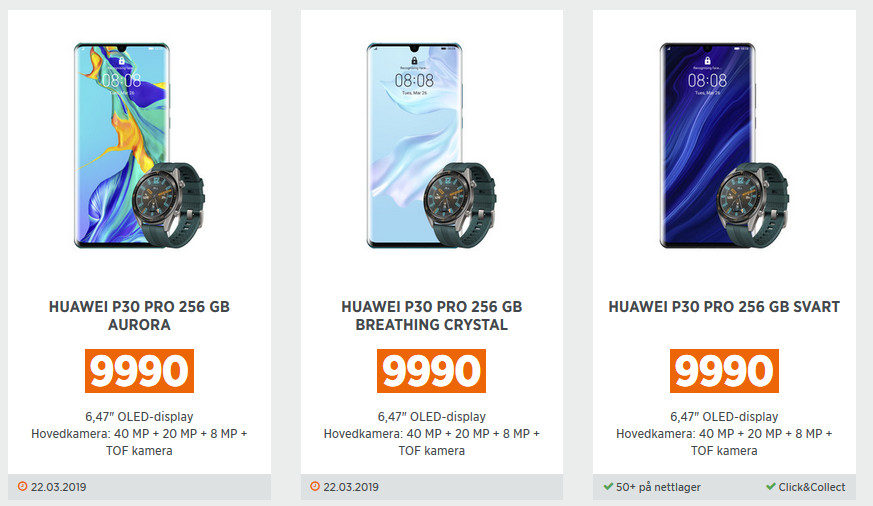 Huawei P30 and P30 Pro leaks through store listings, confirming more camera details